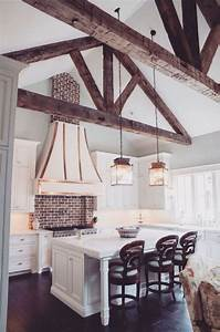 36, inviting, kitchen, designs, with, exposed, wooden, beams