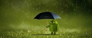 Android, Logo, Wallpaper, 4k, Android, Robot, Umbrella, Rain, Green, Technology, 1571