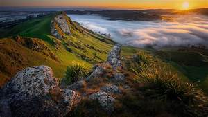 Dawn, Fog, Morning, Mountain, In, New, Zealand, During, Sunrise, Hd, Nature, Wallpapers