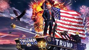 Donald, Trump, On, Battle, Tank, Holding, Riffle, In, Us, Flag, With, Fireworks, Background, Hd, Celebrities
