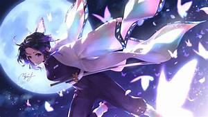 Demon, Slayer, Shinobu, Kochou, With, Background, Of, Moon, Dark, Sky, And, Flying, Butterflies, Hd, Anime