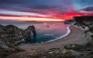 Sea, Shore, Sky, In, Flame, Nice, Red, Sunset, Over, Durdle, Door, Desktop, Wallpaper, Hd, For, Mobile, Phones