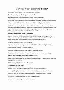 Topics For Satire Essays Amy Tan Mother Tongue Essay Essay On Power Love Essay also Personal And Educational Goals Essay Tan Mother Tongue Personal Profile Essay Examples Amy Tan Mother  College Essays Com