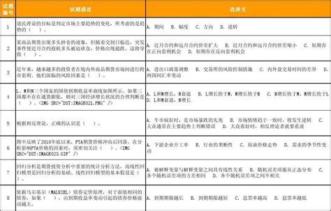 期货投资分析试题